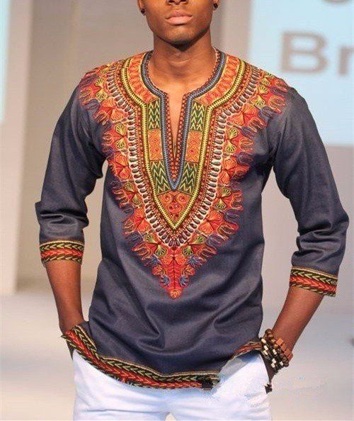 DASHIKI+MEN'S+SHIRT+-+CULTURAL+ETHNIC+AFRICAN+PRINT+-+MANY