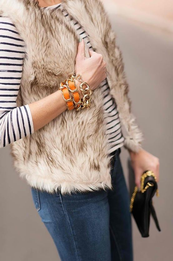 love everything, fur vest, cc skye bracelet, stripes and jeans!!