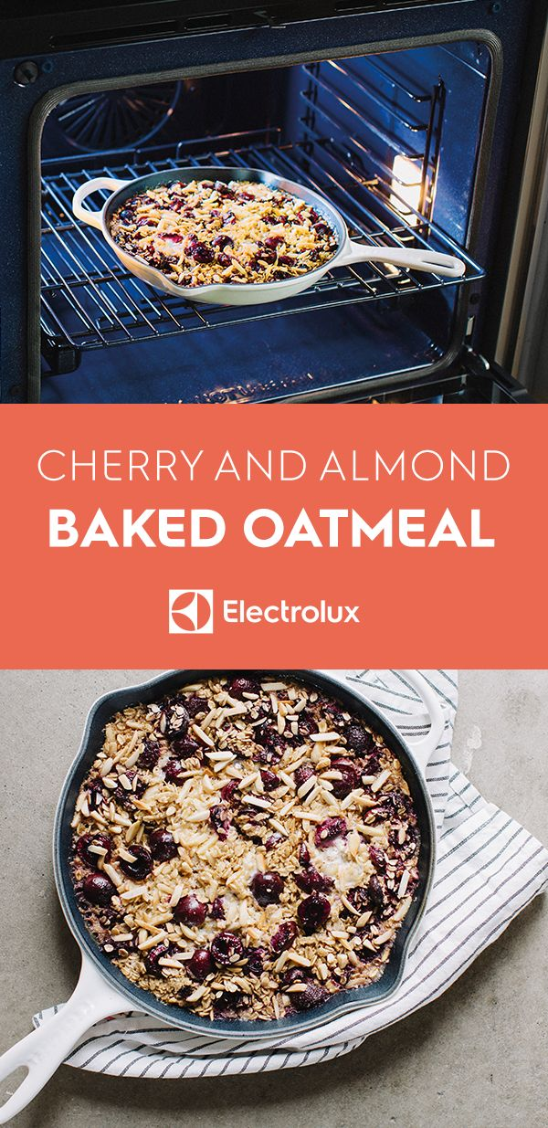 Wake up to this baked oatmeal recipe from @sproutedkitchen of Sprouted Kitchen. Rolled oats, cherries, almonds, and spiced milk are mixed and then baked for a warming breakfast.