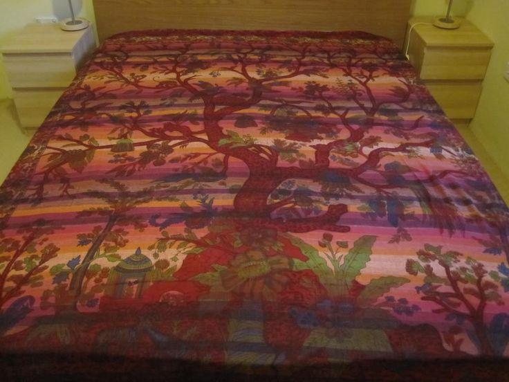 INDIAN BOHO HANDMADE BED SHEET THROW-TREE OF LIFE-KING