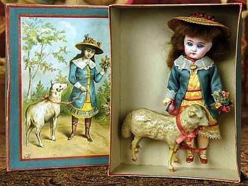 "Sonneberg Bisque Doll as ""Mary Had a Little Lamb"" in Presentation Box."