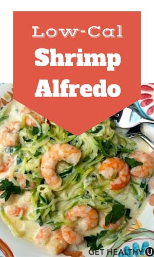 This low-calorie shrimp Alfredo recipe is a low-fat version of classic Alfredo sauce served over a bed of zucchini noodles topped with a hearty serving of delicious shrimp. A delicious and healthy meal that takes under 30 minutes to make!