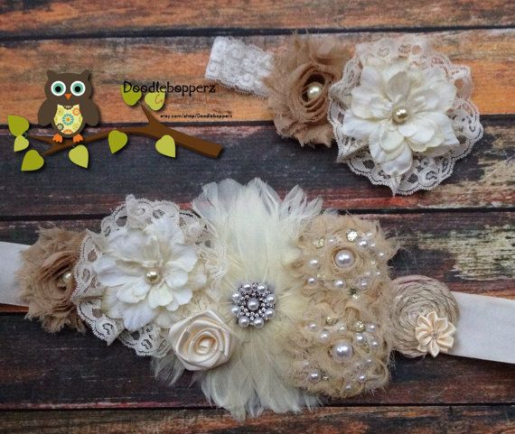 Gorgeous Sash Set Headband Maternity Wedding by Doodlebopperz, $35.00