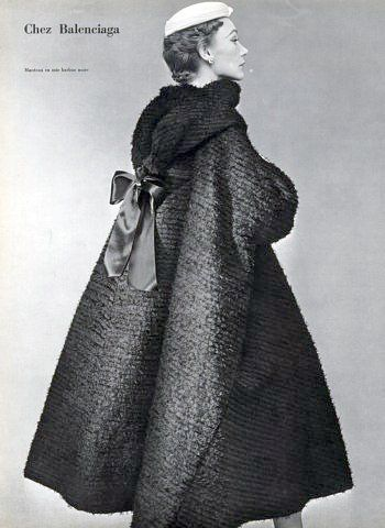 Black silk bearded evening coat by Balenciaga, 1952