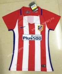 2016-17 Atletico Madrid Home Red and White Thailand Female Soccer Jersey