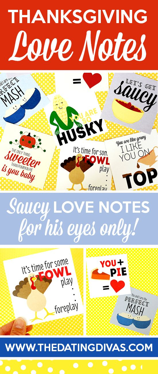 Slip your spouse one of these sexy Thanksgiving love notes under the dinner table for some extra holiday fun! www.TheDatingDivas.com