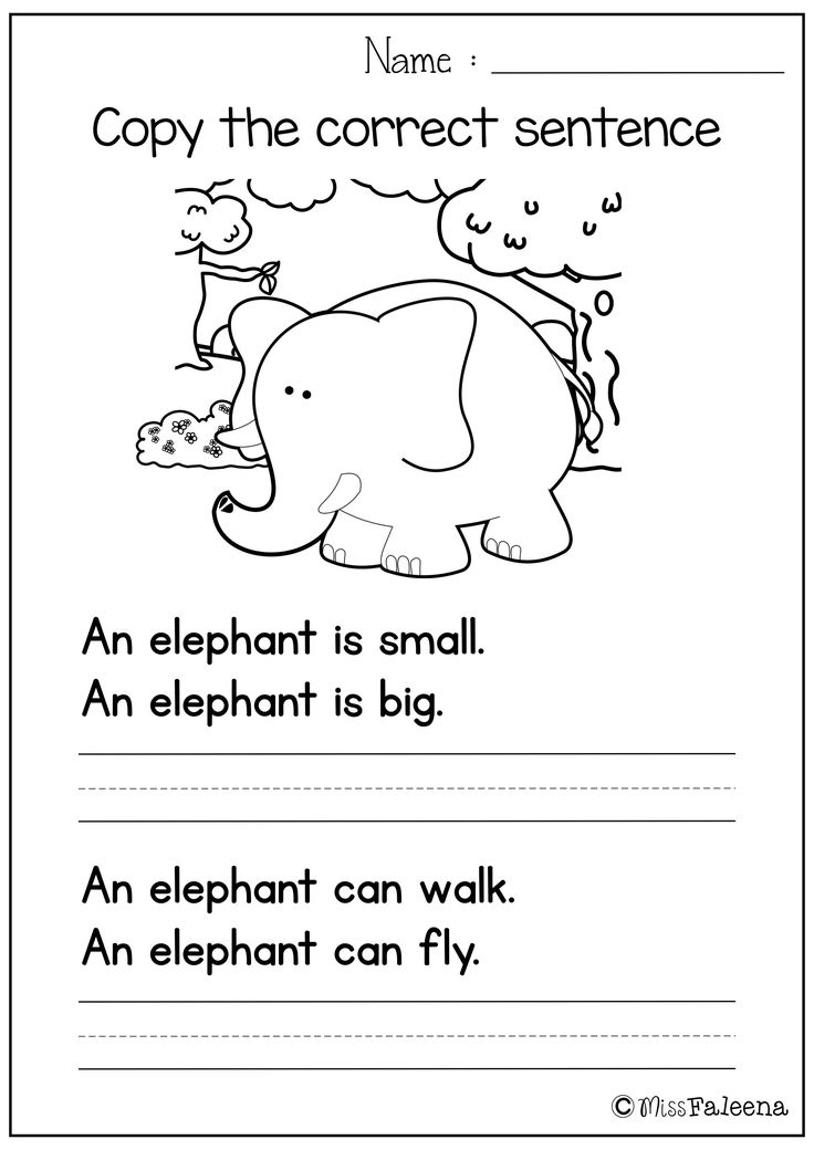 Sentence Writing Set I (copy the correct sentence ...