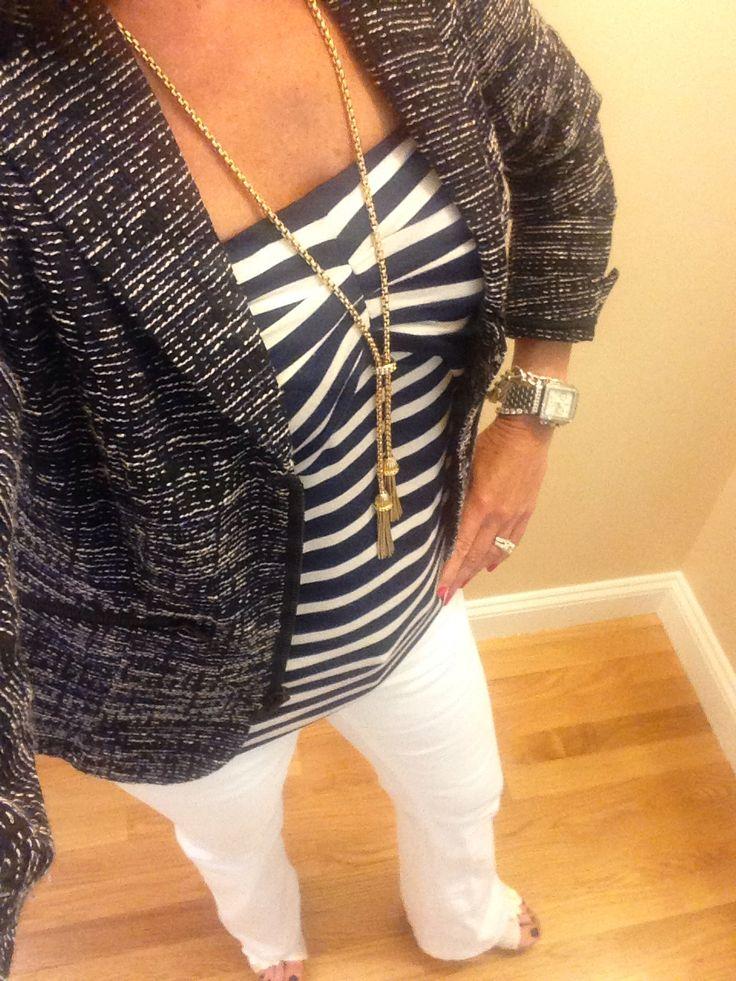 CAbi Spring '14 Mingle Jacket, Blane Tube and white jeans ...