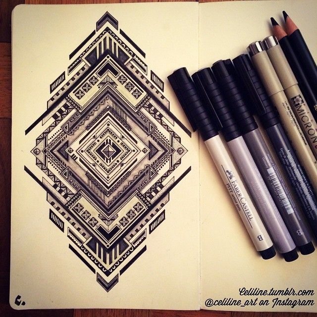 """After walking against terrorism in Paris, I finally finish this one!! ❤️"" by celiline_art via Instagram. #geometric"