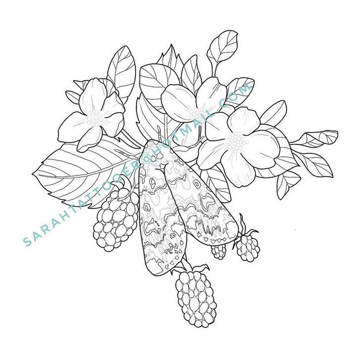 Moth and blackberry tattoo flash