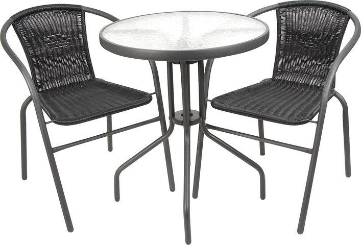 Caféset, bord med 2 stolar, konstrotting + stål, svart, 3002002