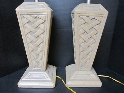 PAIR OF MID CENTURY MODERN LATTICE PATTERN BEIGE TABLE LAMPS VINTAGE
