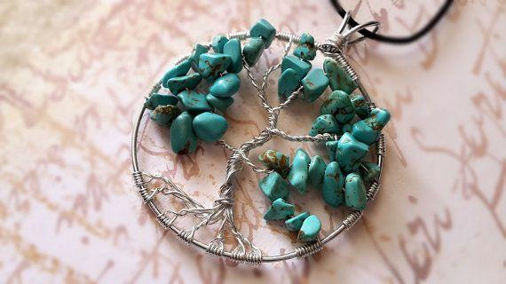 Turquoise Tree of Life Pendant/Chakra necklace/Gemstone