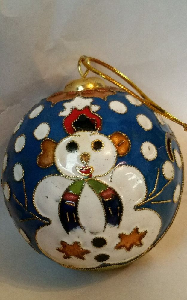 decorative cloisonne ball ornament blue enamel with snowman cloisonne christmas ornaments. Black Bedroom Furniture Sets. Home Design Ideas