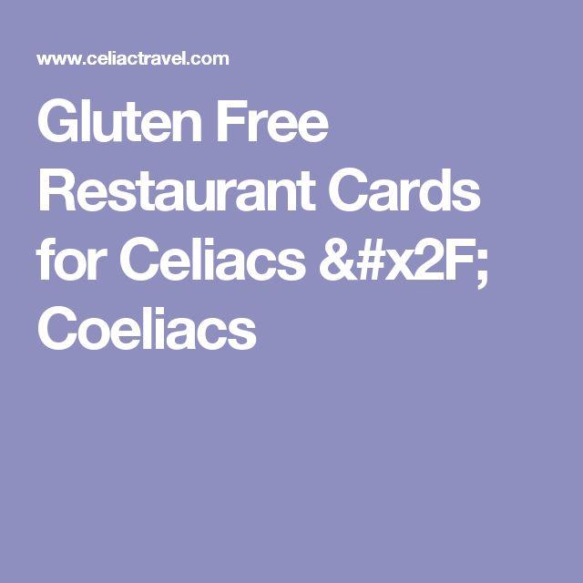 Gluten Free Restaurant Cards for Celiacs / Coeliacs