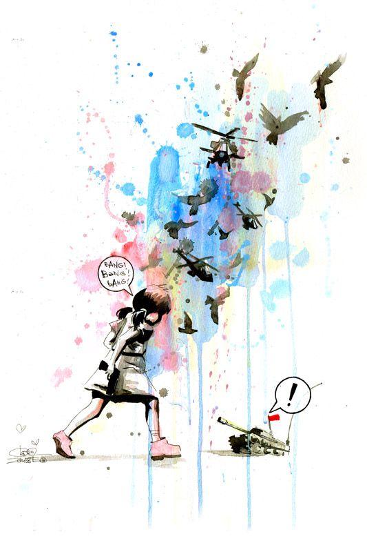 Awesome laptop gelaskin  Tank and a Girl by Lora ZombieInspiration, Girls Generation, Tanks Girls, Prosper Zombies, Girls Large, Prints, Products, Art Block, Large Art