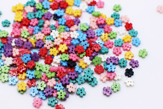Tiny Flower Button Mini Floral Button Small Two Holes Sew On