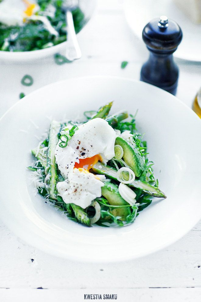Asparagus, avocado and poached egg salad.