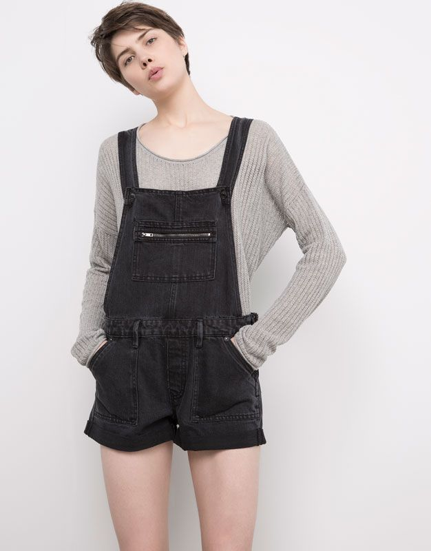Pull&Bear - femme - salopettes et combinaisons - combishort jean - noir - 05635300-V2016