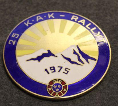 25 KAK - RALLYT 1975. SwedishRoyal Automobile Club badge. 25th anniversary rally.
