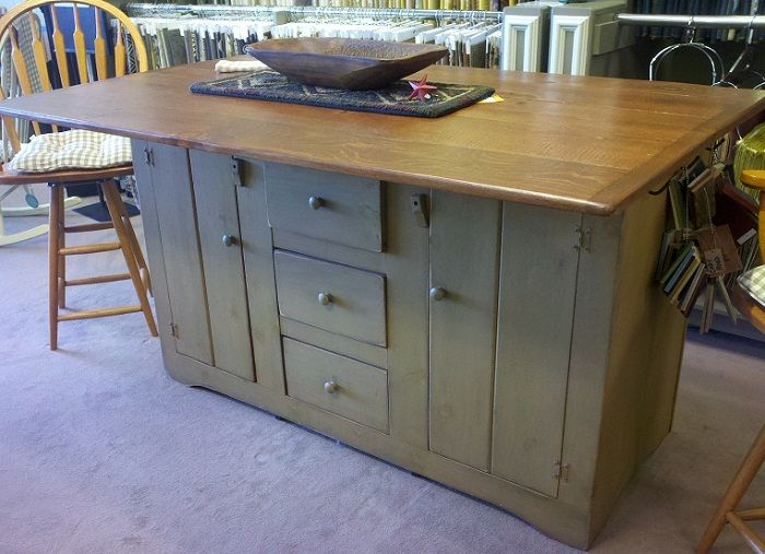 PRIMITIVECRIB928A in by Primitive Country Shoppe in Spencer, MA - Double  Wide Kitchen Island with