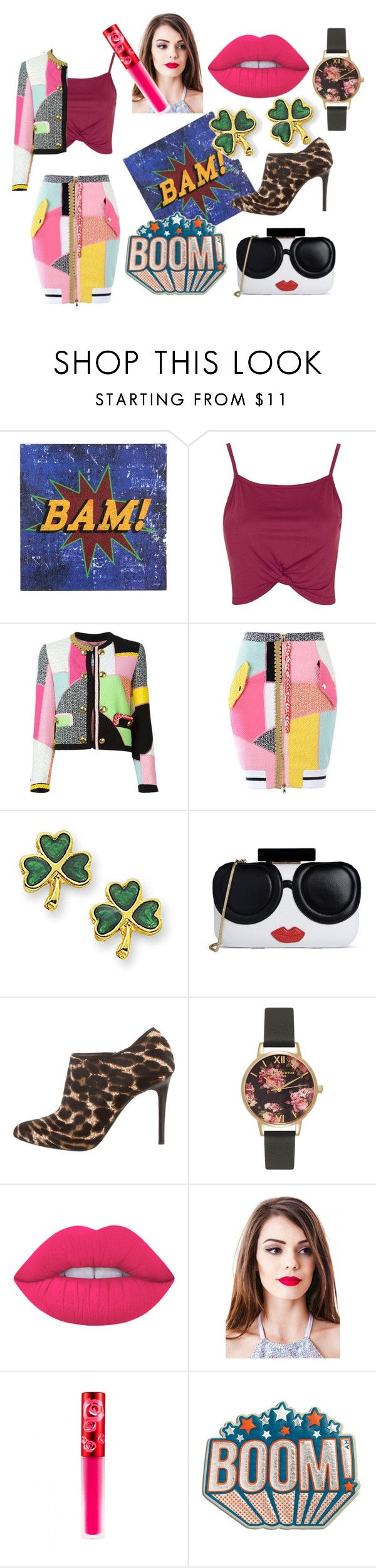 """""""Bam Boom Splitz"""" by marthabr ❤ liked on Polyvore featuring Topshop, Moschino, Alice + Olivia, Lanvin, Olivia Burton, Lime Crime and Anya Hindmarch"""