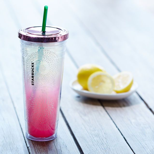 A+sturdy,+24-fl+oz+clear+plastic+Cold+Cup+with+double+wall+construction,+floral+design+and+reusable+straw.