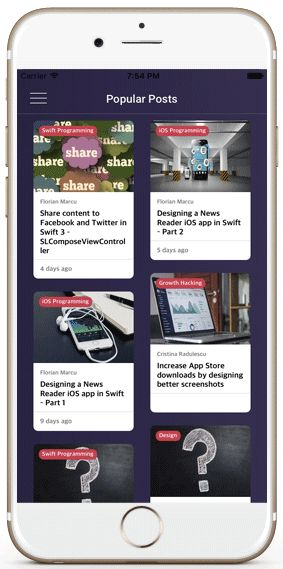 Wordpress iOS app templates collection view cell layout