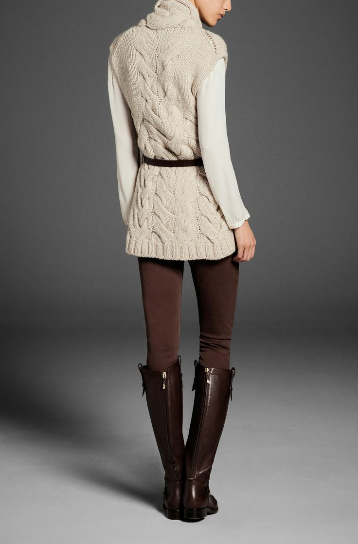 shoulder eyelets and cables -- CABLE KNIT WAISTCOAT WITH BELT - View all - Sweaters & Cardigans - WOMEN - Portugal