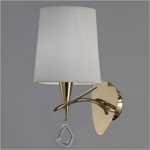 mantra mara 1 light french gold ivory shade wall light m1647fg an elegantly simple form