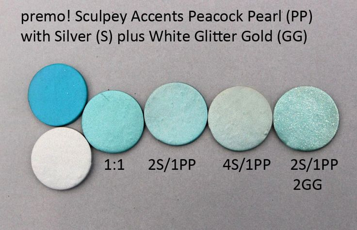 Premo! Color Recipes from Syndee Holt - Peacock Pearl, Silver, & White Glitter Gold