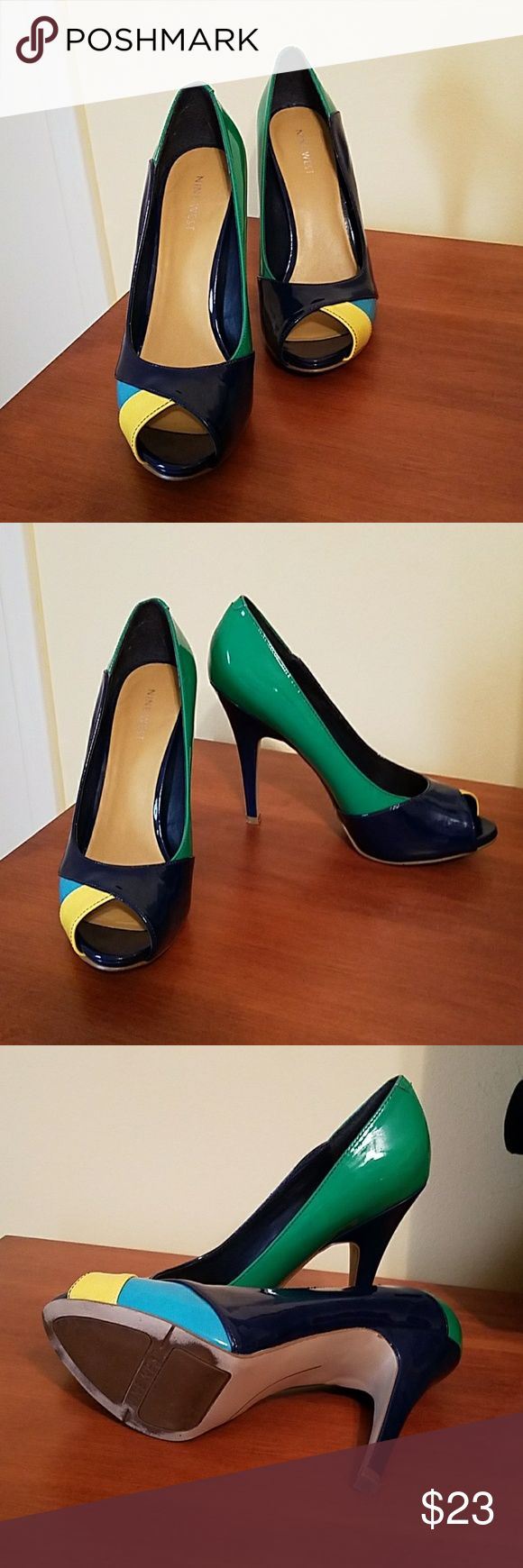 Nine West color block peep toe pumps Gently worn color block blue, yellow, green and turquoise peep toe pump Nine West Shoes Heels