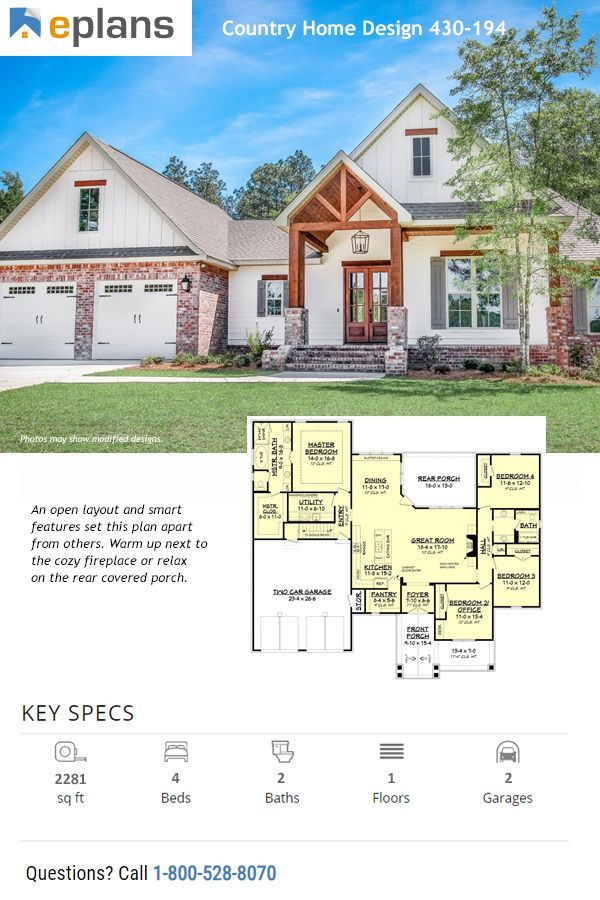Country Style House Plan 4 Beds 2 Baths 2281 Sq Ft Plan 430 194 In 2020 Country Style House Plans House Plans Farmhouse Country House Plan