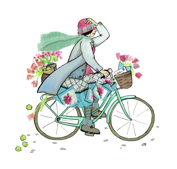 BICYCLE BETSY , colourfully fun card showing a woman whizzing along enjoying a care free cycle ride ,her basket full  flowers