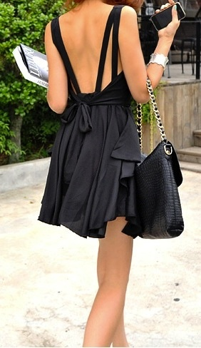 deep back black dress