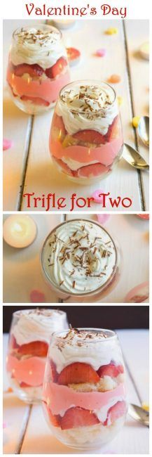 Trifle for two is the perfect Valentine's Day dessert! Layers of orange flavored sponge cake, strawberries, traditional English custard, and orange infused whipped cream give this English custard trifle for two it's delicious flavor! | ItsYummi.com