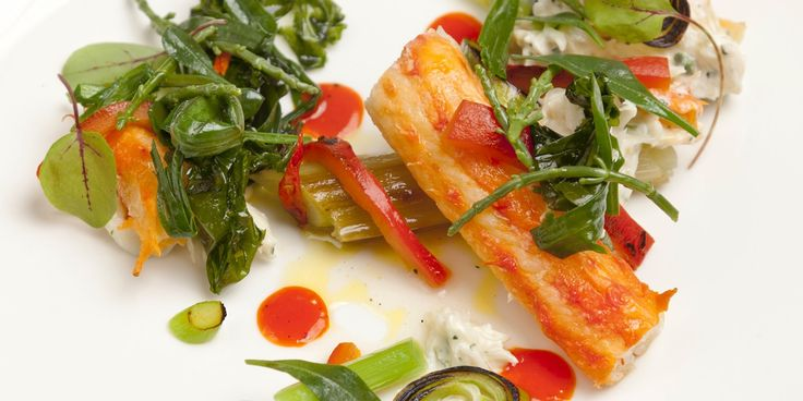 Dave Watts pairs glorious king crab with a host of sea vegetables, leeks and warming red pepper in this summery recipe