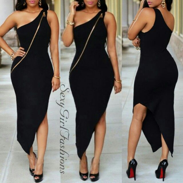 One Shoulder Zipper Dress#fashion #style #onlineboutique Search New Arrivals www.SexyGirlFashions803.com