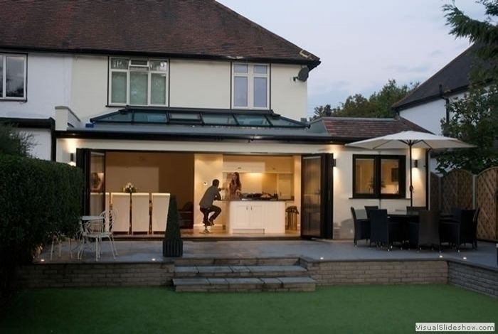Add a few metres to your house for a new kitchen/diner that leads nicely into the garden. Roof windows and bi-folding doors will create a feeling of space no matter the size of your extension. Via expressbifoldingdoors.co.uk