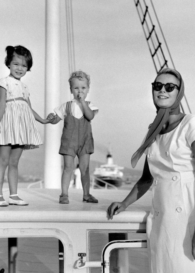 Princess Grace with Princess Caroline and Prince Albert