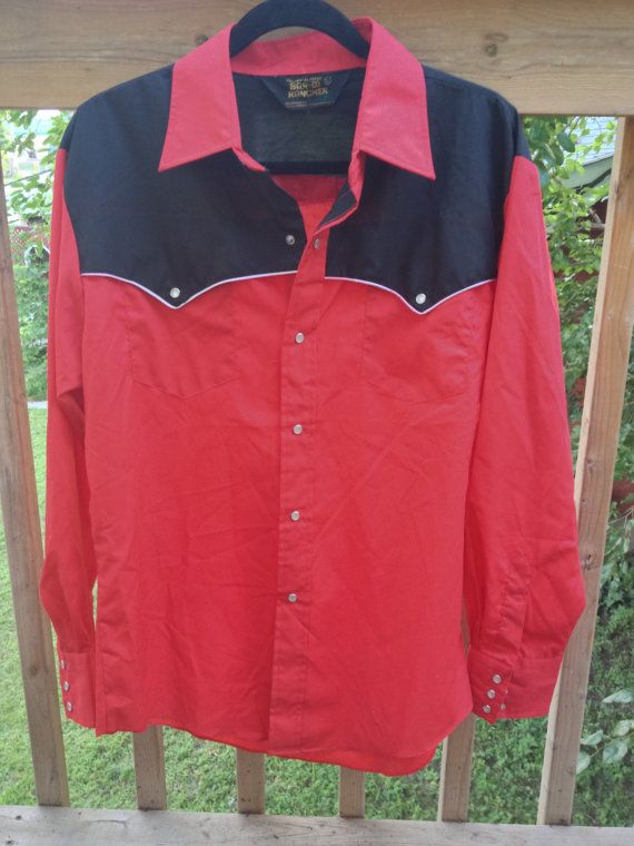Country Western Rockabilly Pearl Snap Button Up by RetroFreshTees, $25.00