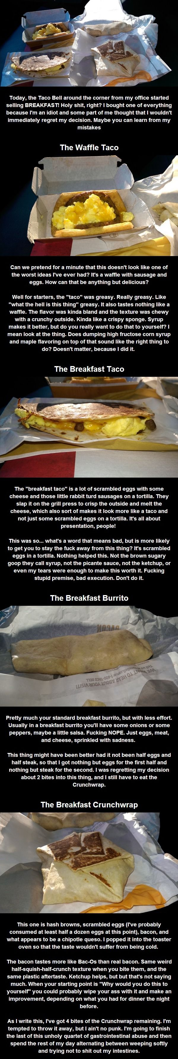 Taco Bell's New Breakfast Menu. Oh God, Funny