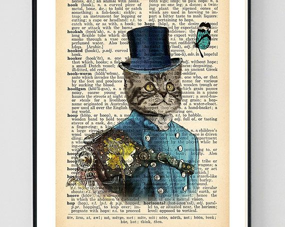 Steampunk Cat Art Cat Print Cat Dictionary Art Cat Wall Art
