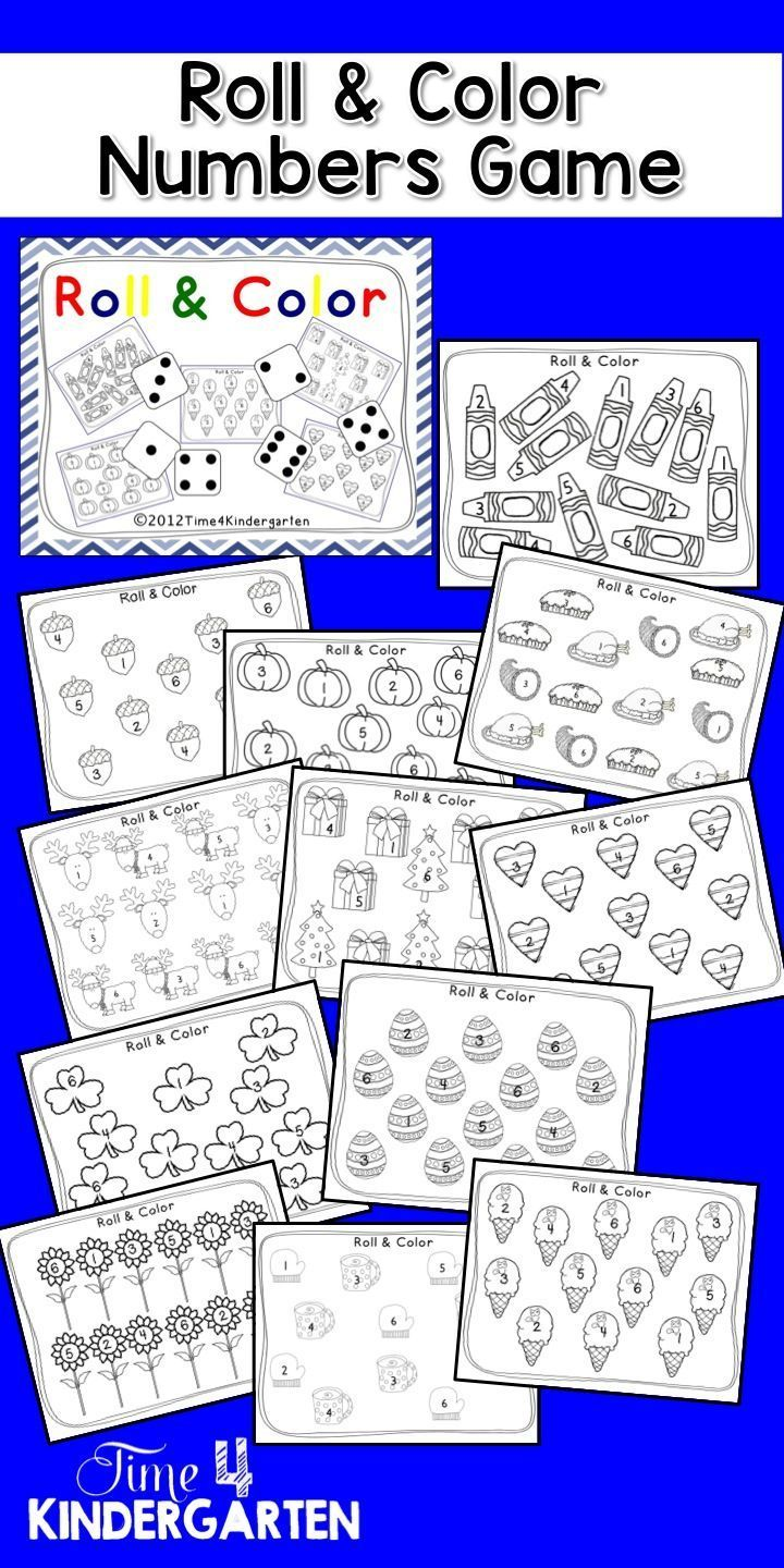 Co color by number games kids - Roll And Color The Numbers Game Great For Math Centers Use Dice With Dots