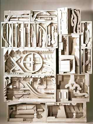 I could look at  her work every day.                                   (above: Louise Nevelson, Dawn's Wedding Chapel IV, from Dawn's Wedding Feast, 1959-60, painted wood, 109 x 87 x 13 _ inches. Courtesy PaceWildenstein, New York. © Estate of Louise Nevelson / Artists Rights Society (ARS), New York.)