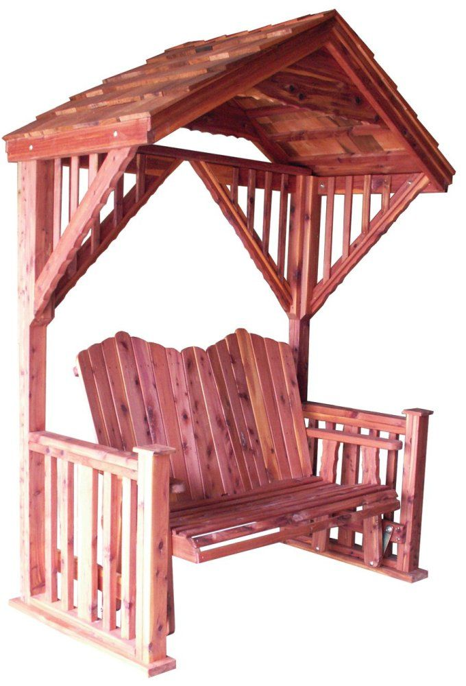 Cedar covered garden swing bench seat wood outdoor glider roof patio furniture gardens Wooden swing seats garden furniture