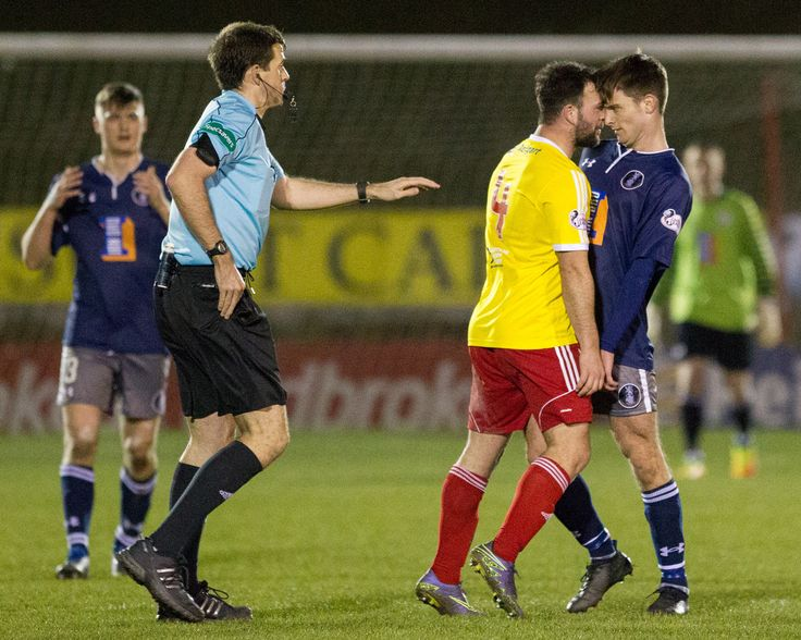 Albion Rovers' Gary Fisher not happy with Gavin Mitchell during the Ladbrokes League One game between Albion Rovers and Queen's Park.
