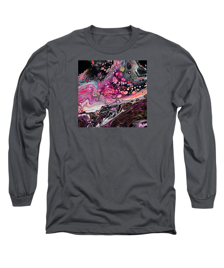 Original Atmospheric Abstract Fantastical Patterns Many Shades Of Pink Fuschia Orange Gray White And Black Domating Long Sleeve T-Shirt featuring the painting #340-jupiter Calling by Expressionistart studio Priscilla Batzell