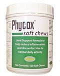 $37.45-$79.99 PhyCox Soft Chews is a veterinary strength nutritional supplement with health benefits. Recommended to support joint mobility and healthy bone structure. Provides enhanced antioxidant protection and Omega-3 Fatty Acids.     Directions:  PhyCox Soft Chews are to be given orally for administration. After 6 weeks, the dosage can be reduced as positive results are seen. Since each pet's bo ...
