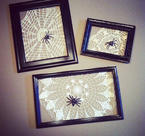 These frames make an easy #DIY project for Halloween. Think outside the box and attach patterned doilies to create spiderwebs.